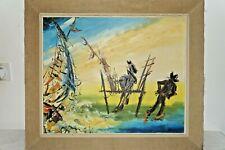 Peinture Gouache sur Toile Ancienne Signé a Identifier XX eme Don Quichotte