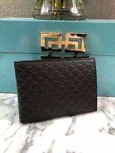NWT Gucci Authentic Mens Brown Micro Guccissima Bi fold Wallet w/ Coin Pocket