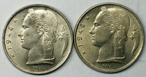 "(2) BELGIUM 1948 ""BELGIQUE"" 5 FRANCS BRILLIANT UNCIRCULATED KM# 134.1"
