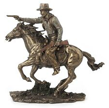 Fighting Cowboy On Horseback With Pistol And Rifle Figure Sculpture Statue