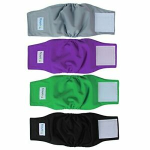 Damai Teamoy 4pcs Reusable Wrap Diapers for Male Dogs- Pick SZ/Color.