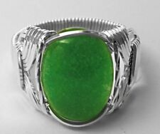 Green Jade .925 Sterling Silver Wide Band Ring Mens Ladies