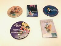 Vintage Lot Of 5 Disneyana Disney Store 1995-98 Button Pins Retired RARE!
