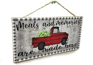"""Red Farm Truck Meals and Memories are Made Here Kitchen Farmhouse Sign Plaque 5"""""""