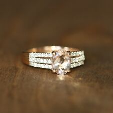 Pink Morganite White Sapphire Engagement Ring 14k Rose Gold Wedding Ring Size 7