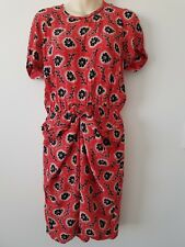 Country Road Dress Size 10 Red Floral Tie Waist Summer Drape Part Short Sleeves
