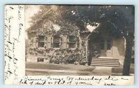 1906 SCHOOLCRAFT MICHIGAN POSTAL CANCEL ON REAL PHOTO POSTCARD RPPC OF BUILDING