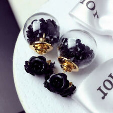 Romantic Women Rose Ear Stud Earrings Three Flowers Double Sides Ball Fashion