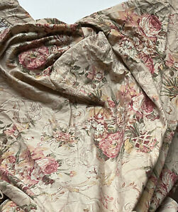 *GUC RALPH LAUREN Queen Sateen FLAT SHEET Guinevere Aragon Medieval FLORAL Tan