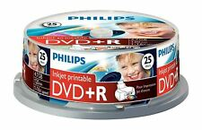 Philips DVD+R 120 Mins 4.7GB 16X Speed Inkjet Printable Blank Discs - 25 Pack
