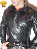 Fine quality  Men's Sheep Leather Police Shirt Long Sleeves  Leather Shirt
