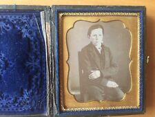 ODD COMPOSITION DAGUERREOTYPE: Sixth Plate Daguerreotype 1 Arm Crossed Young Boy