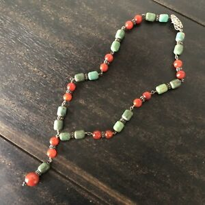 Andrea Barnett Sterling Silver Natural Stone Beaded Necklace Turquoise Carnelian