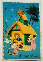 GORGEOUS Vintage French Angel Cutout 3D Nativigy Christmas Postcard Antique Rare