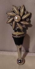 New listing Wine Bottle Stopper Flower Silver Pearl Inlaid Rhinestone Bar Cork 4 1/4 Vintage