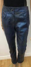 CHANEL Runway 2012 Blue Metallic Leather Lambskin Pants Sz.S (38) NWT