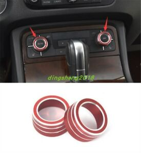 2PC Interior AC Climate Control Knob Ring Cover For Volkswagen Touareg 2011-2017