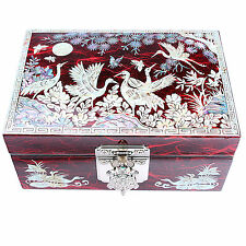 Jewelry boxes Mother Of Pearl Wedding Gift Goods Women Idea Pine Crane 1003Red