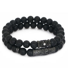 Luxury Men's Fleur De Lis Tube & Crown Bracelet Matte Agate Beads Healing Stone