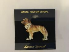 New Lauren-Spencer Pin Brooch Yellow Hovawart Dog Austrian Crystals