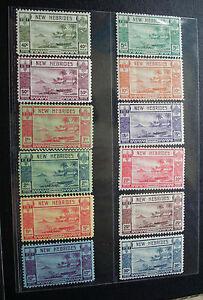 NEW HEBRIDES 1938 5c to 10f SG 52 - 63 Sc 50 - 61 Canoe set 12 MLH