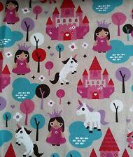 "UNICORN, PRINCESS, MAGICAL CASTLES cotton canvas 54"" fabric sold/PER METRE/"