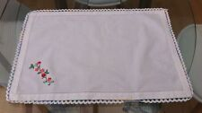 VINTAGE WHITE COTTON HAND EMBROIDERED FLORAL SMALL TABLECLOTH / TRAYCLOTH