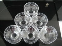 SET OF 6 STUART ENGLAND CRYSTAL TAMARA SUNDAE FOOTED GLASS BOWL GRAPEFRUIT DISH