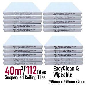 40m2 Suspended Ceiling Vinyl Wipeable 595x595 Easy Clean 600x600 112 Tiles Pack