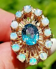 Vintage Bright Blue Apatite Opal Frame 14k yellow gold band/ring