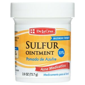 De La Cruz® 10% Sulfur Ointment Acne Medication 2.6 OZ / USA,   Exp 10/ 2023