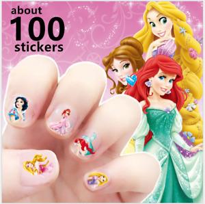 100x Disney Princess nail stickers Kids Adhesive Nail Art Decals Party Fillers