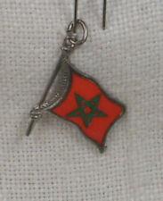 Vintage REU Sterling/Enamel Morocco Flag Shaped Bracelet Charm - NOS
