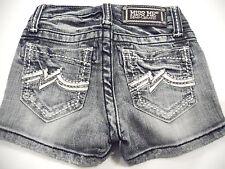 Miss  Me Little Girls Kids Sz 10 Jean Blue Denim Shorts White Leather Design