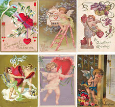 Vintage inspired angels Valentine small note cards tags ATC altered art set of 6