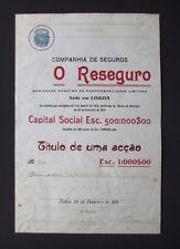 Portugal - Comp de Seguros, O Reseguro, 1918 - *V RARE - ONLY 500 ISSUED SHARES*
