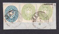 LOMBARDO VENETO frammento 1864 con 10 soldi V emiss. + 3 soldi x 2 IV emiss.