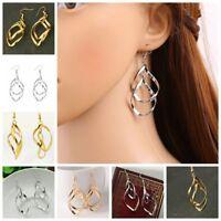 Fashion 925 Sterling Silver Ear Dangle Hoop Drop Earrings Wedding Jewelry Gift