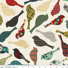 BTY Penny Rose, Quilting, Sewing Fabric 'Mid Mod' Birds On Cream, Bolt #2