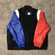 Jordan DNA Varsity Bomber Leather Jacket Black Blue Red AT9958-010 XXXL/3XL