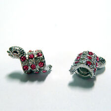 3 Beads - Pink Rhinestone Snake Screw In Only Silver European Bead Charm E1297