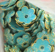 Patina Bead Caps, Deco Flower Floral Gold Unique Artsy 10mm Antiqued Green #700E