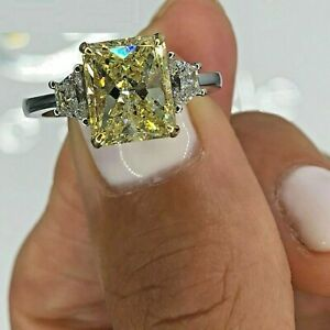 2.3ct Radiant Cut Yellow Sapphire Trilogy Engagement Ring 14k White Gold Finish