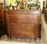 French Antique Carved Oak Louis XV Full Size Bed   Bedroom Furniture