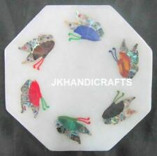 """6"""" Round Marble Wall Plate Marquetry Antique Butterfly Inlaid Art Home Decor"""