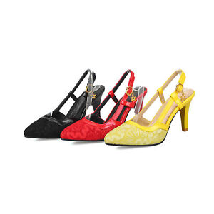 Women's Slingbacks Pumps Synthetic Leather Sandals High Heels Pointed Shoes S228