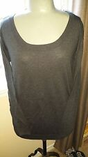 GAP Ladies Silk/Cotton CHARCOAL GRAY Long Sleeve Scoop Neck Sweater  Sz MD  NWT