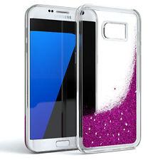 Schutz Hülle f. Samsung Galaxy S7 Edge Liquid Glitzer Cover Handy Case Lila