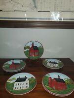 "Brandon House Warren Kimble 1998 Sakura 8"" Country Life Salad/Dessert Plates"
