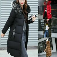 Ladies Long Padded Quilted Winter Womens Puffa Jacket Fur Hooded Coat Plus Size